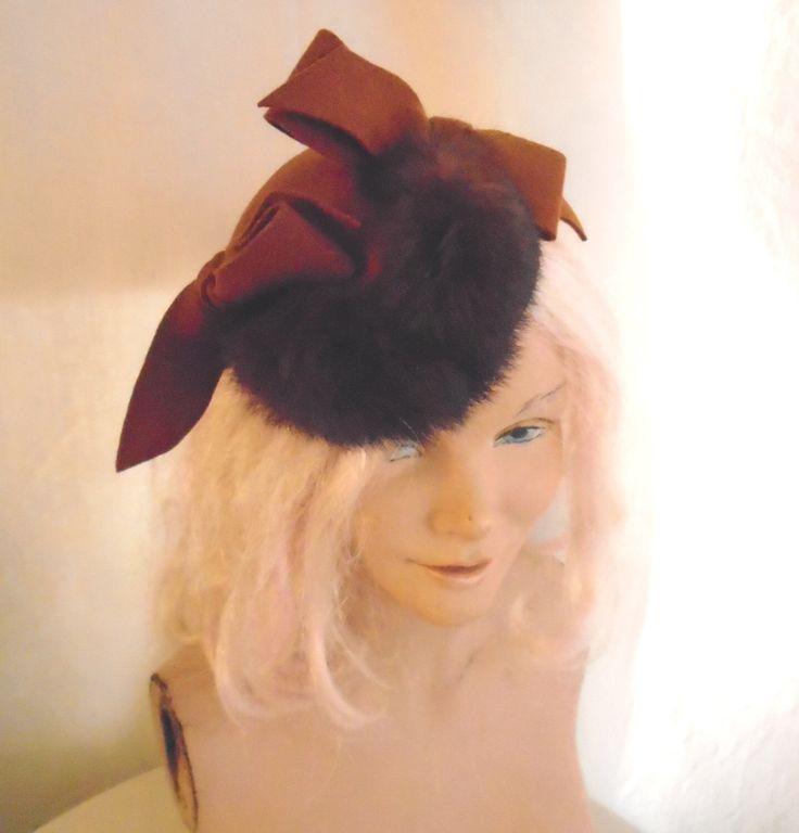Vintage Hat 1940's Novelty Hat Rust Felt with Brown Rabbit Fur Trim One Size Topper by rue23vintage on Etsy https://www.etsy.com/listing/481858646/vintage-hat-1940s-novelty-hat-rust-felt
