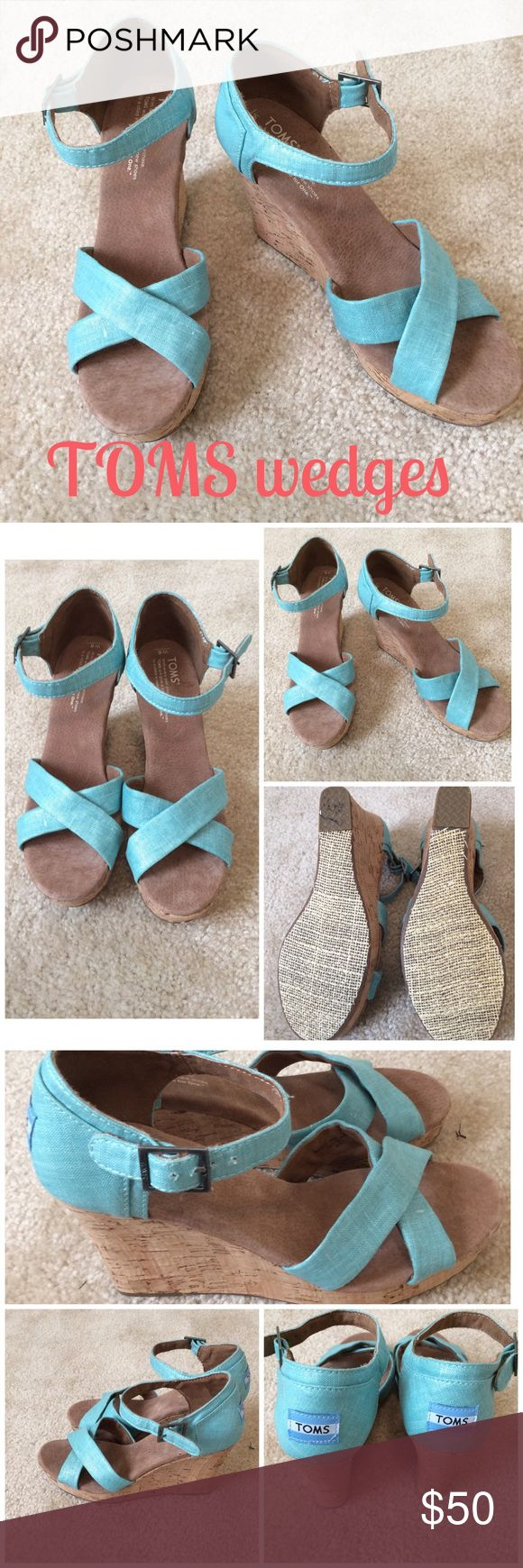 🆕 TOMS wedges Cute TOMS wedges with about 3.5 in heel..teal blue (more blue green tint)...worn once and in EUC...no box. TOMS Shoes Wedges