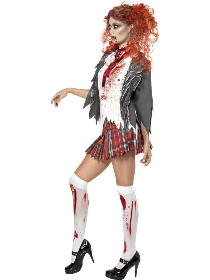 Free shipping High School Horror Zombie Schoolgirl Halloween Scary Womens Costume Outfit M L XL #SchoolOutfits