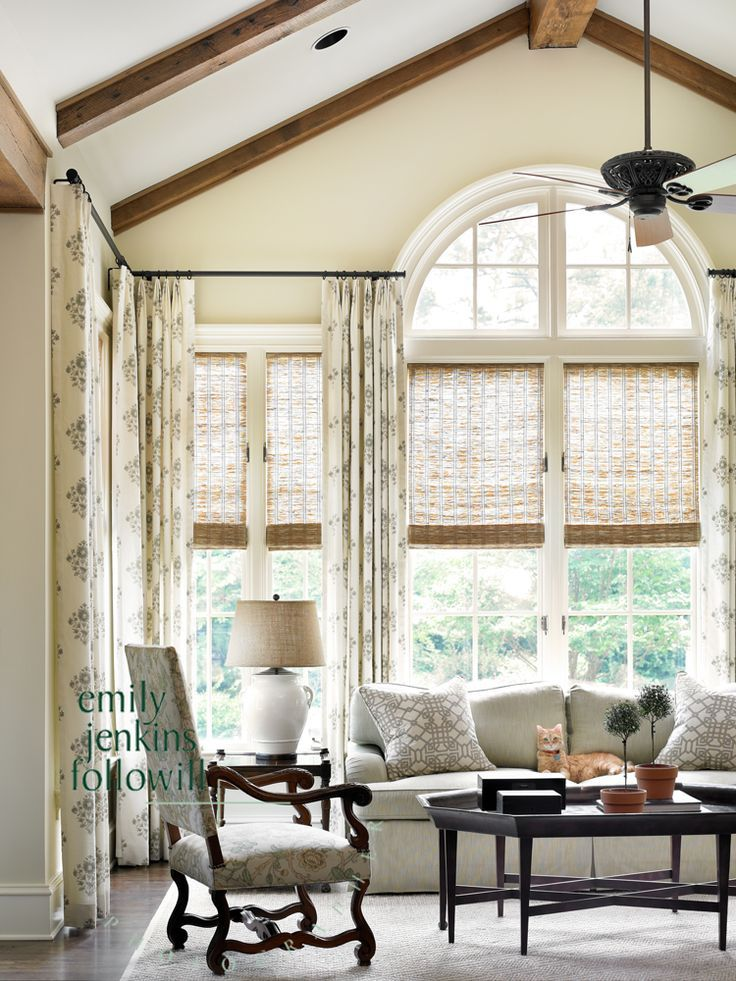 French country cream and pale blue living room with natural grass roman shades | Emily Jenkins Followill Photography - Atlanta Photographer