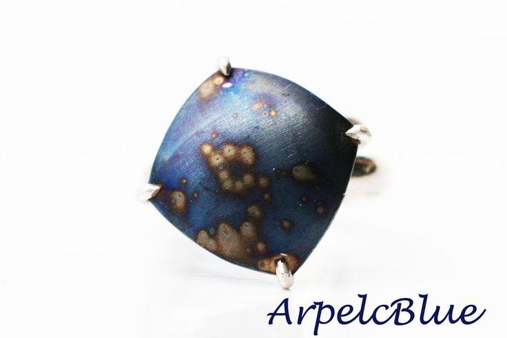 Midnight blue titanium cocktail ring, geometric from Arpelc Blue Titanium Jewelry by DaWanda.com