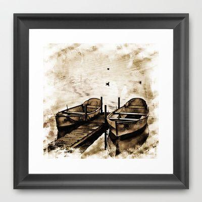 Twin Boats II Framed Art Print by AngelEowyn - $34.00