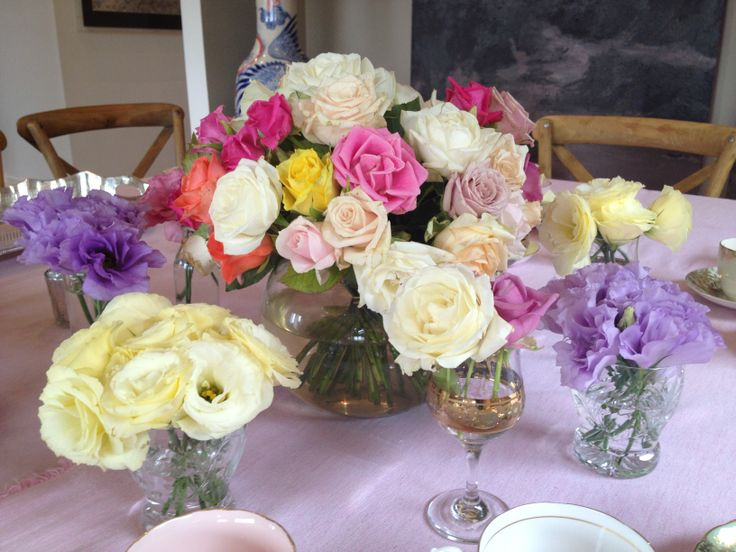 Hen's High Tea ~ @dustymillerweddings #dustymillerweddings #hensparty #dahlias #hydrangeas #roses #lisianthus #cosmos #peonies www.dustymillerdesigns.com