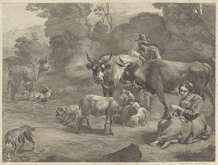 Cornelis Visscher (II) | Landschap met een herder en een naaiende herderin, Cornelis Visscher (II), 1638 - 1658 | In een landschap voor een bomenrand zit een herderin iets te verstellen tussen de schapen en koeien. Schuin achter haar staat een herder die zijn kudde in de gaten houdt. Hij draagt een hoed en leunt op een van zijn koeien. Links drinkt een hond water uit een plas.