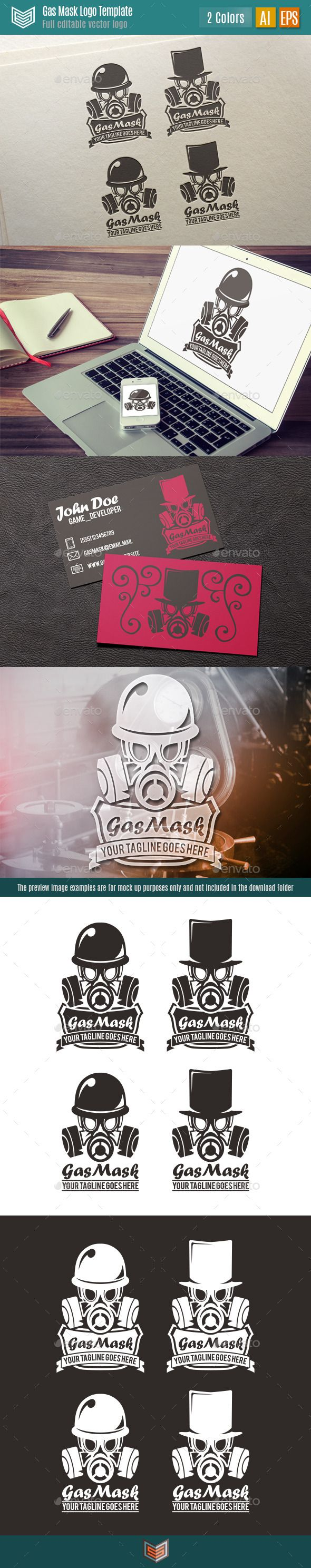 Gasmask Logo. Gasmask is a vintage look logo, has a style reminiscent of steampunk or retro futuristic. Is available with two types of hat: a military helmet and a stylish top hat. Also in the same file are available two styles of logo, framed and unframed. It can be used for multiple purposes and different types of businesses, studies, clans, startups, branding, etc.