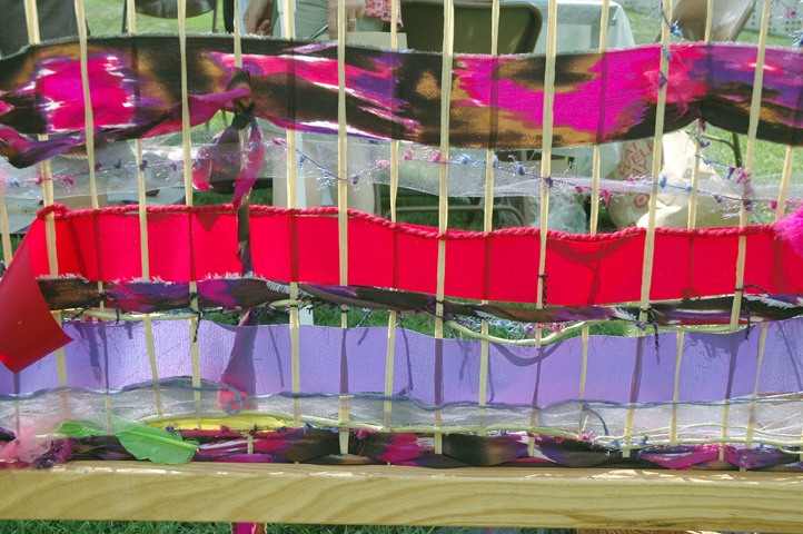 Weaving outdoors! Endless possibilities!