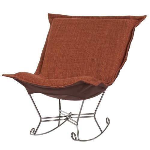 Howard Elliott Coco Scroll Puff Rocker with Titanium Frame 40 Tall Polyester and Acrylic Upholstered Rocking Chair with (