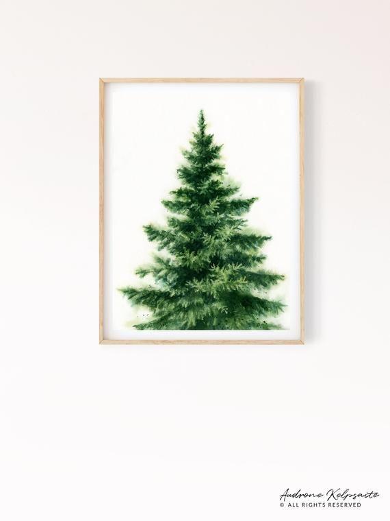 Pine Tree Printable Wall Art Evergreen Scandinavian Tree Etsy Tree Watercolor Painting Watercolor Art Prints Art