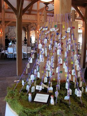 Placecards done as a rock climbing wall with the cards suspended from carabiners. SO CUTE