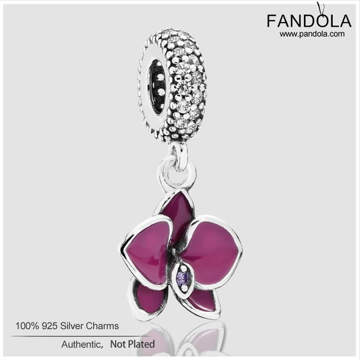 Find More Beads Information about Fits Pandora Style Bracelets Orchid silver dangle with clear and purple cubic zirconia and purple enamel Sterling Silver Beads,High Quality Beads from Fandola original Silver Jewelry on Aliexpress.com