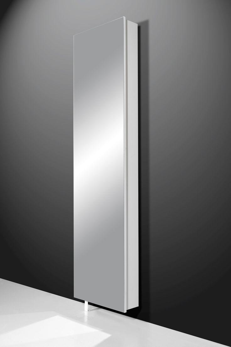 High turn skoskab m. stort spejl - Hvid