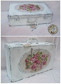 roses decoupage -suitcase painted antique-style