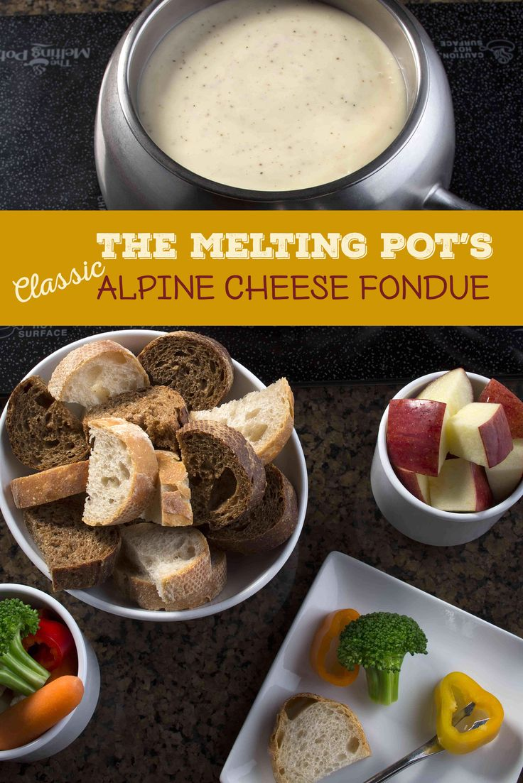 Follow this recipe for your own homemade version of The Melting Pot's alpine fondue. Dip your favorite fruits, vegetables and bread in it.