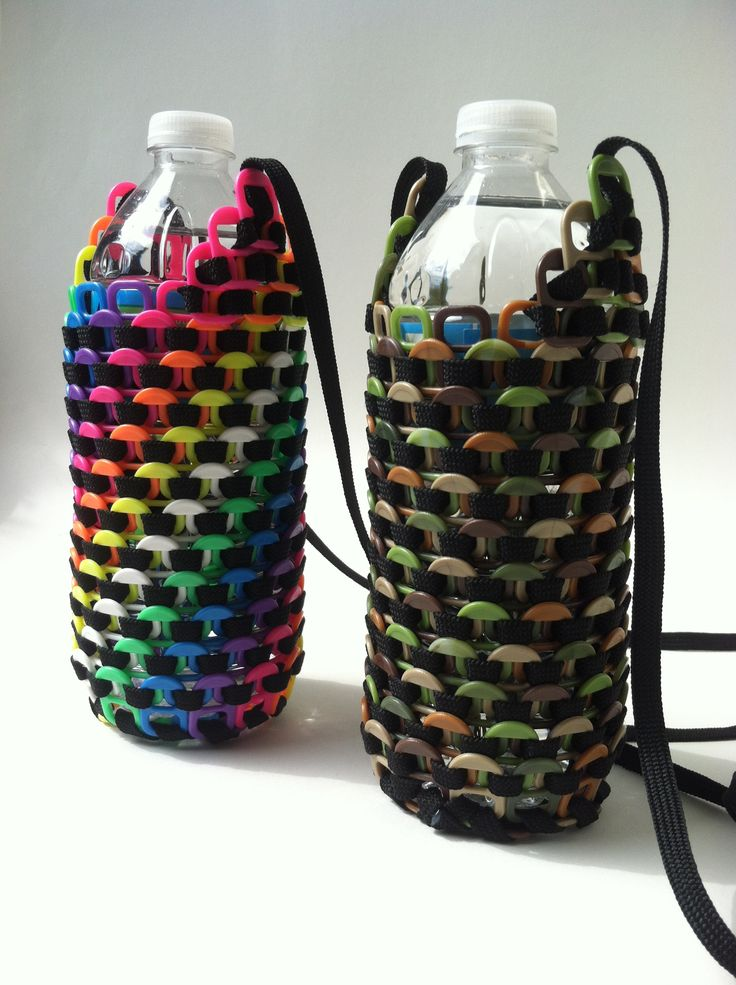 Water bottle holders with Beadery #Pop Tabs, and black shoelaces!!!