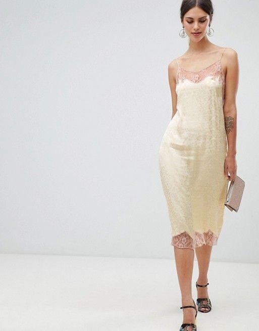 40abb39b0335f ASOS DESIGN | ASOS DESIGN soft jacquard slip dress with delicate lace  inserts