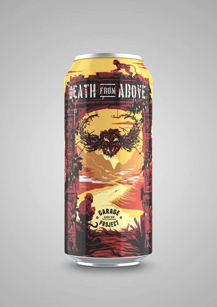 Beer Label Redux I / DEATH FROM ABOVE ----- The 440ml beer can design revealed a bonus monkey and a bit more sky. Render by Andrew Martis. Please Repin, or click this link to see more images from this project > http://www.flyingwhities.com/327652/6004511/-illustration/beer-label-redux-i-death-from-above