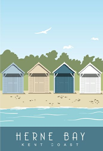 Herne Bay Beach Huts. Our landscape picture was converted to a portrait image so it could be purchased with the other two Herne Bay images in a triple mount.