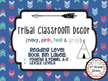 Tribal Decor Reading Level Book Bin Labels {Navy, Pink, Teal & Gray}