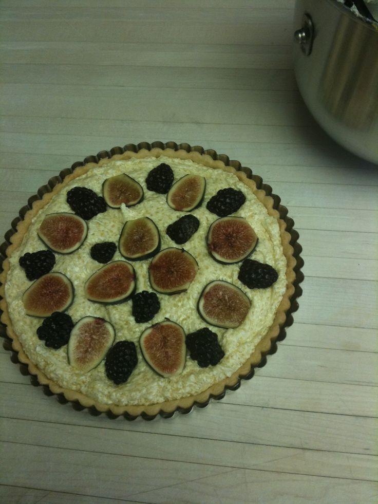 Fig, blackberry and frangipane tart