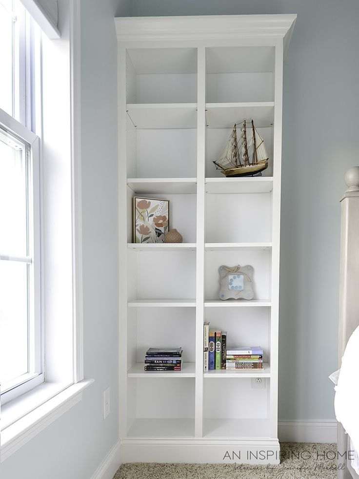 Learn how to turn Ikea Billy Bookcases into built in