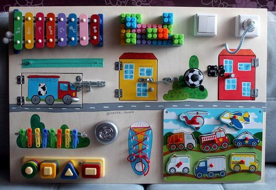 Busy Board truck and houses Activity Board by Woodledoodleshop