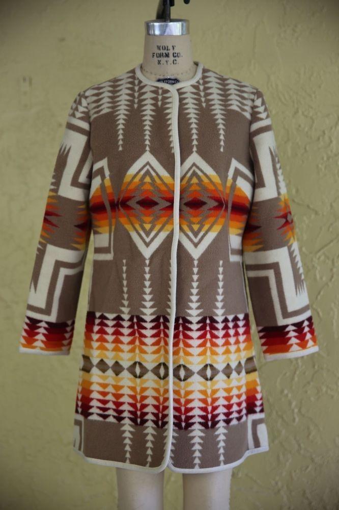 Vintage Pendleton Wool Blanket Jacket Coat Aztec Southwestern Native Indian  | Clothing, Shoes & Accessories, Vintage, Women's Vintage Clothing | eBay!