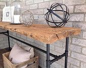 Items similar to Industrial sofa table. Reclaimed barn wood.  on Etsy