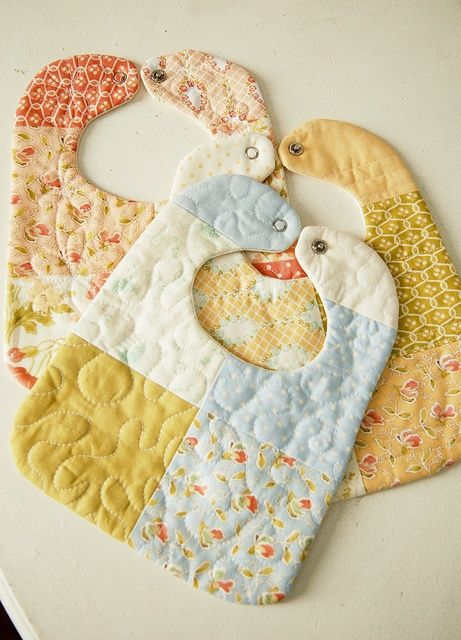 New baby coming? Use up your scraps for baby bibs. Stack and tie with a ribbon for a great shower gift.