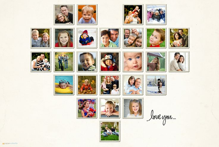 adorable heart-shaped photo layout. would make a great seasonal wall [swap out photos in heart based on season]