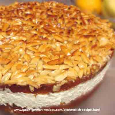 "Bienenstich Cake.... a German ""Bee Sting"" cake. http://www.quick-german-recipes.com/bienenstich-recipe.html"