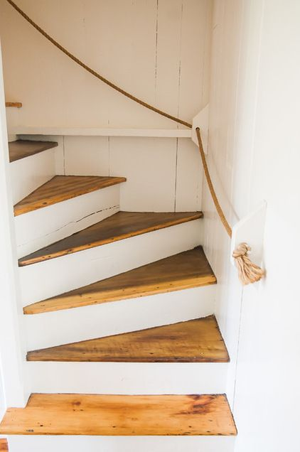 darling rope banister to give the lake cottage a little extra character without a lot of extra cost