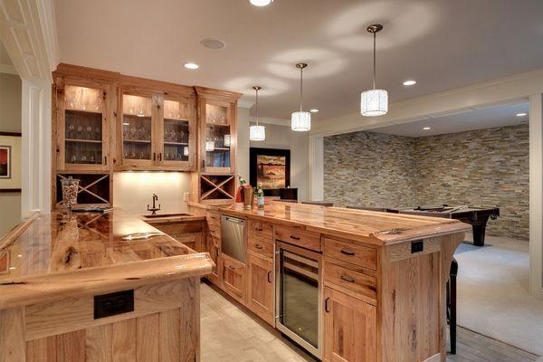 Basement hickory kitchen cabinets