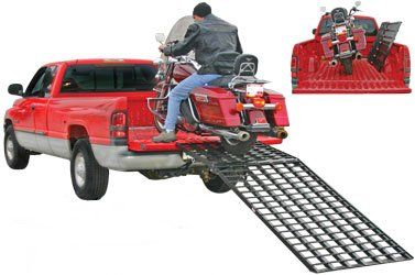 "VisionMasters' one piece motorcycle ramp is a 108 inch long by 36 inch wide folding motorcycle ramp designed specifically for quick deployment and set up. This ramp folds at the 6 foot point so it can fit in any 6 foot pick up truck bed. This ramp folds completely flat (only 4.5"" at the thickest point) so it can store in any truck or on any trailer."