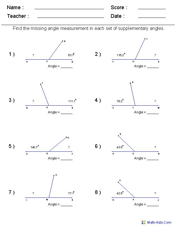Math Worksheets For Every Grade Free I Have It On Angles