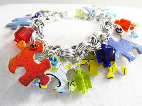 paint colors of autism awareness puzzle pieces (or use pieces of those colors), mod podge...fundraiser idea!