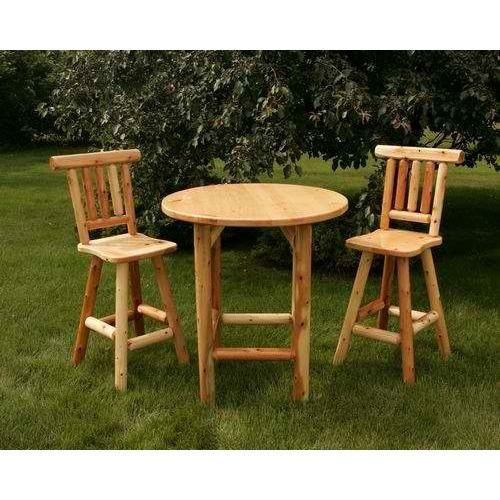 Moon Valley Rustic Bistro Table Set with 1 Table & 2 Chairs