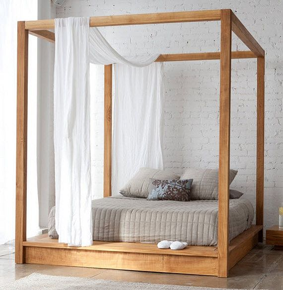 Best Low Platform Bed With Canopy And Head Board Cal King 640 x 480