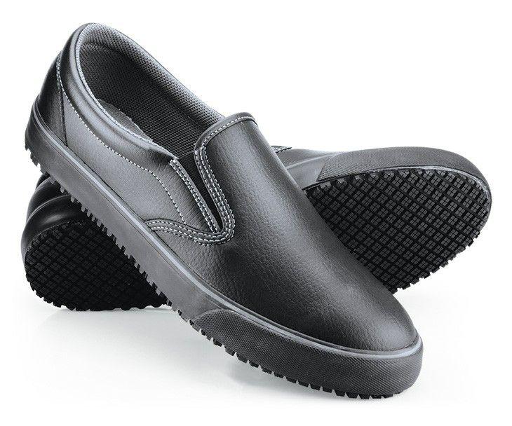 Black no slip laceles shoes slip on tennis shoes slip