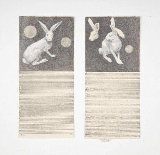 José Antonio Suárez Londoño, Dibujos con renglones - Pareja No 14, 2011, mixed media on paper, 28 x 20 cm.