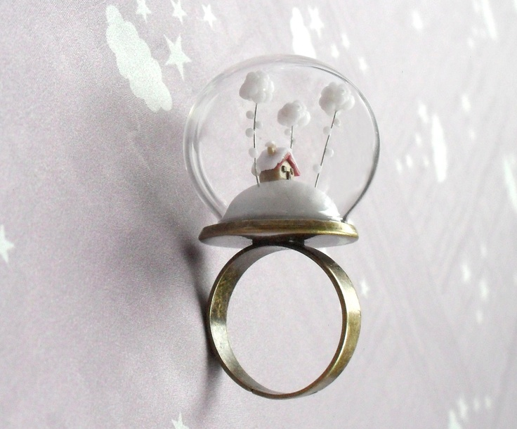 Christmas Ring Snow-covered landscape-Little house and white clouds- Winter Terrarium ring