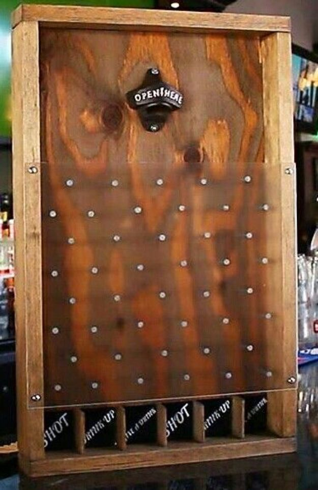 DIY Mancave Decor Ideas - DIY Drinko Plinko - Step by Step Tutorials and Do It Yourself Projects for Your Man Cave - Easy DIY Furniture, Wall Art, Sinks, Coolers, Storage, Shelves, Games, Seating and Home Decor for Your Garage Room - Fun DIY Projects and Crafts for Men http://diyjoy.com/diy-mancave-ideas