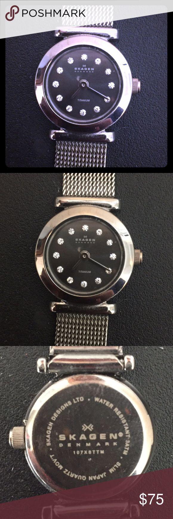 Sparkly Skagen Titanium Watch Titanium.  Crystal studded watch.  Will need new battery.  Water resistant. Skagen Accessories Watches