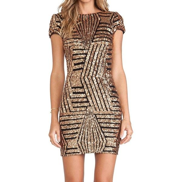 Yoins Gold Geometric Sequin Short Sleeve Open Back Dress-Gold  S/M/L (€22) ❤ liked on Polyvore featuring dresses, cocktail dresses, gold, sequin mini dress, sequin bodycon dress, gold cocktail dress, sequin party dresses and gold dress