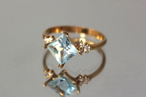 JewelryAsteria Art Deco Blue Topaz Ring