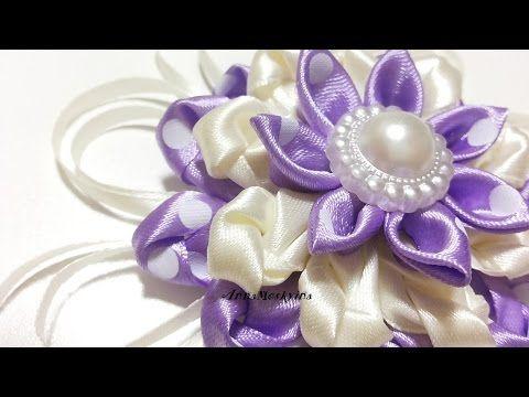 Цветок из лент канзаши - YouTube