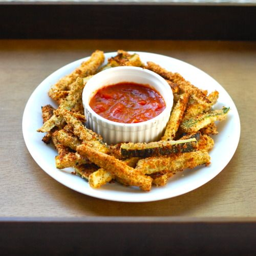 Baked Zucchini Fries. These were delicious! They didn't take that long to put together and they were great with some sriachi mayo.
