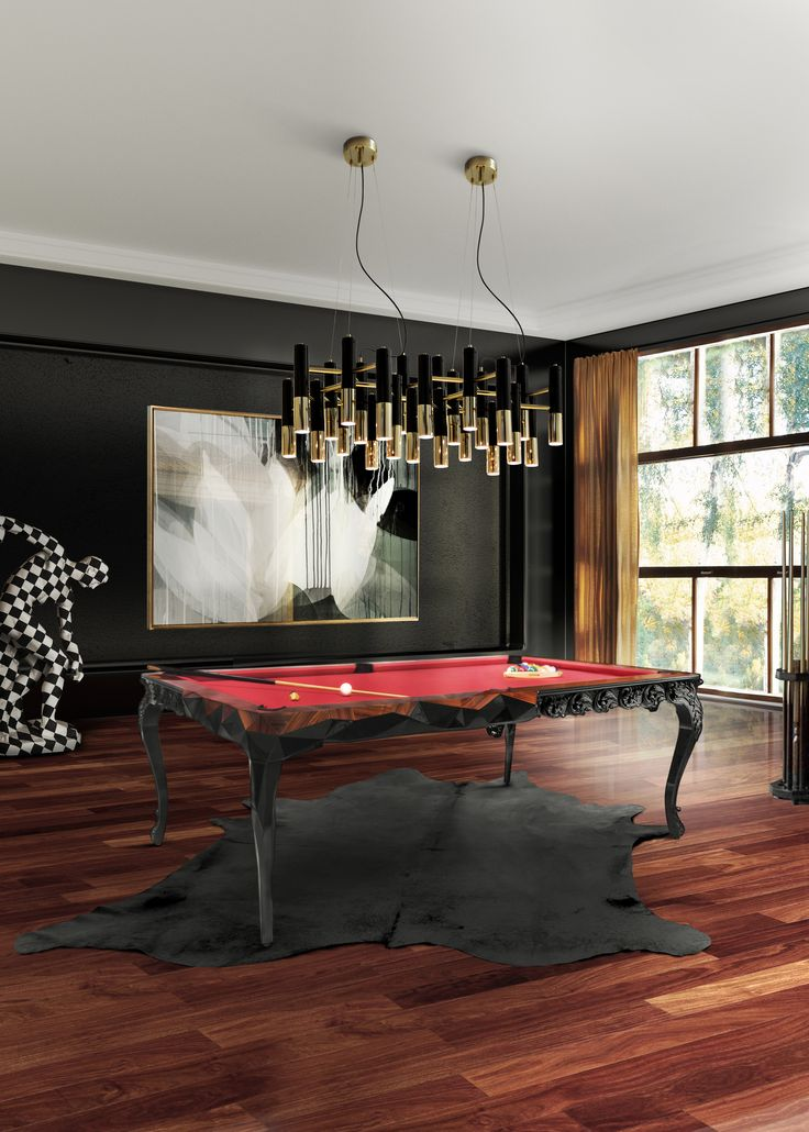 Snooker Table by Boca do Lobo made from wood with carved legs, in a baroque and minimalist faceted style. www.bocadolobo.com
