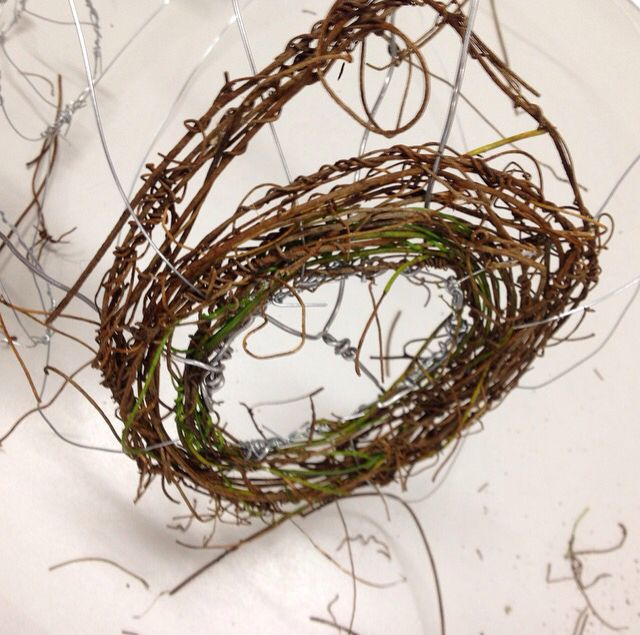 Year 10 KMHS Visual Arts student radial weave using vines and a wire armature.