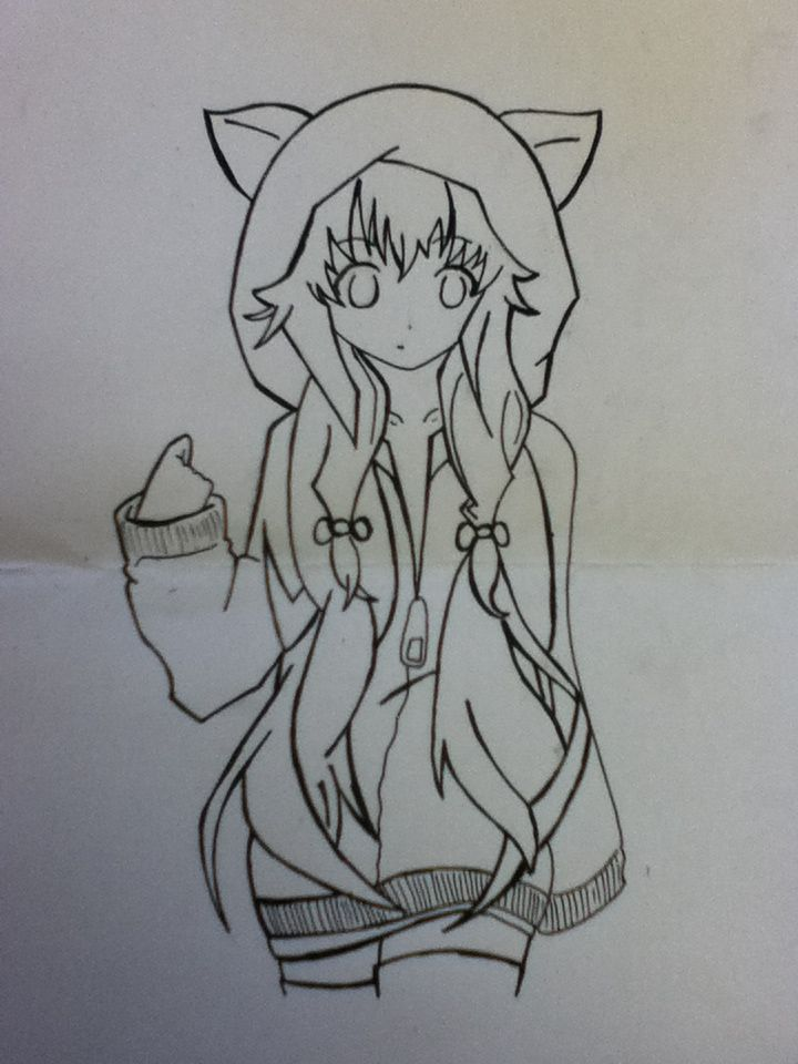 Anime girl with hoodie and fox ears   Drawing   Pinterest ...