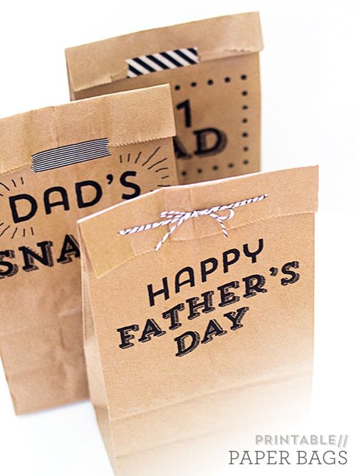 DIY - Fathers Day Gift Bags - Free PDF Printable- cute way to give little surprises thru out the day.